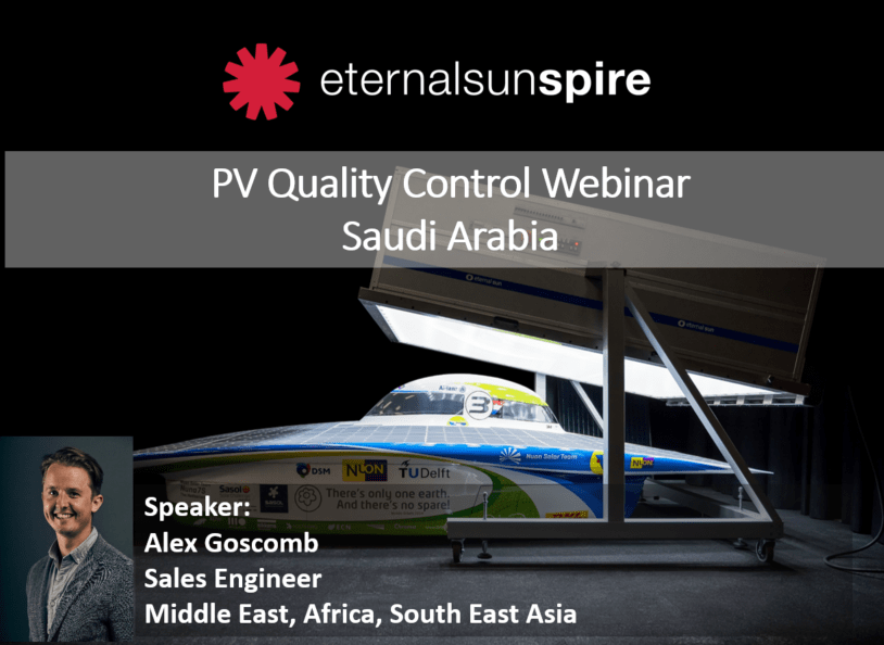 Flyer for PV quality control in Saudi Arabia and speaker