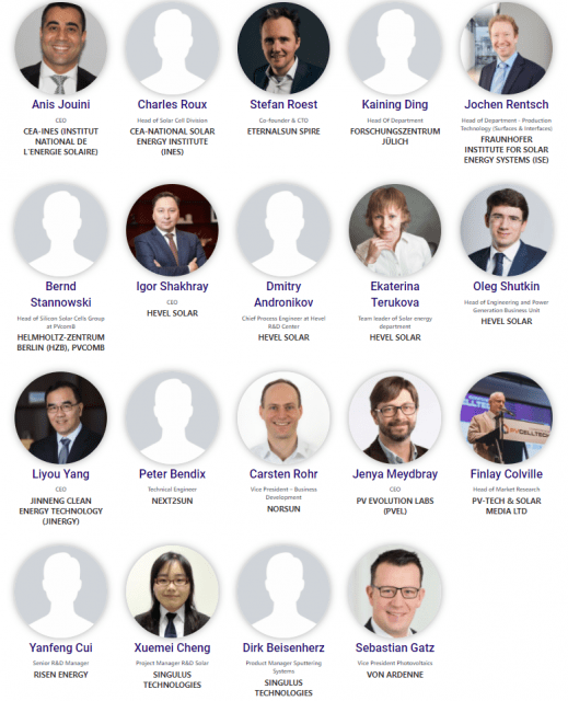 pictures of speakers at solar PV conference for heterojunction modules