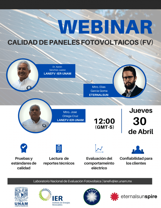 Flyer for PV quality control webinar in Mexico and speakers