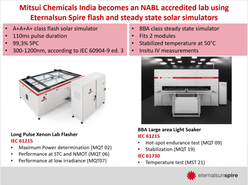 PV lab in India becomes accreditied lab with Eternalsun Spire solar simulator and steady state simulator